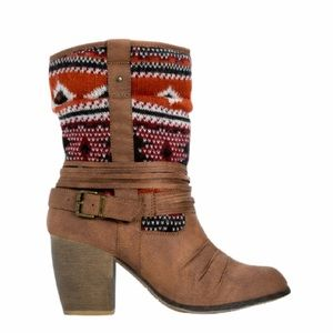 Justfab western slouch boots heeled 10 Aztec